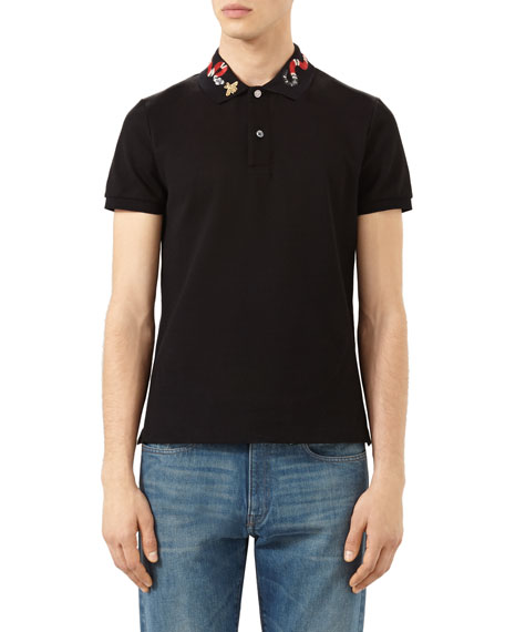 5e15360f5b40 Gucci Snake & Bee Embroidered-Collar Polo Shirt