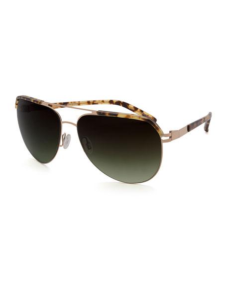 Oversized Square Navigator Sunglasses, Navy