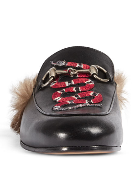 Princetown Embroidered Fur-Lined Slipper, Black