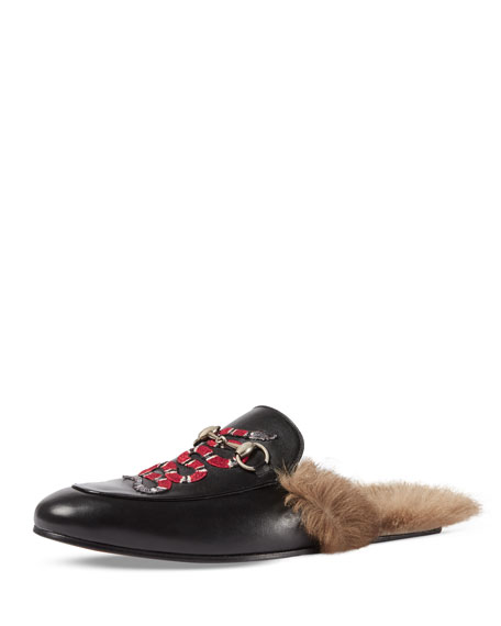 bbbe34659aa Gucci Princetown Embroidered Fur-Lined Slipper