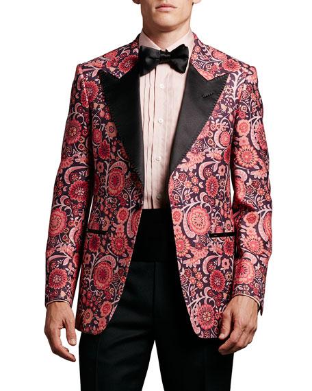 Floral-Print Hopsack Tuxedo Jacket, Pink Pattern