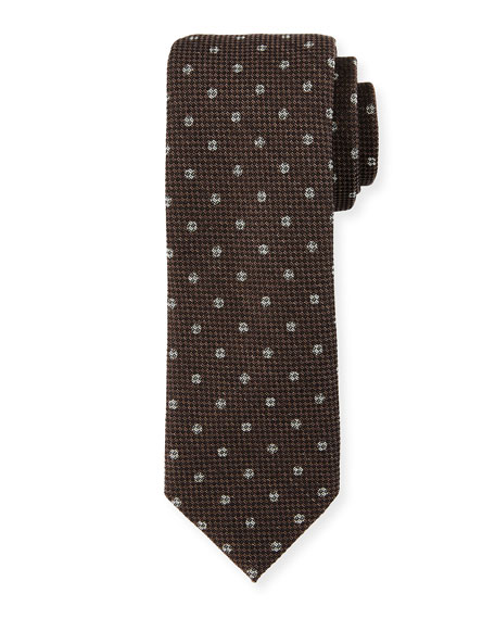 Trofeo Dot Neat Wool Tie, Brown