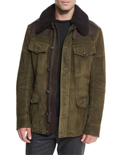 Suede Field Jacket w/Shearling Fur Collar, Olive