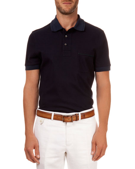 Berluti Polo with Leather Detail, Navy