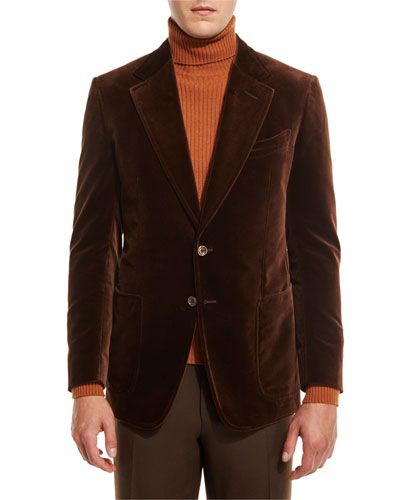 Shelton Base Velvet Sport Jacket, Brown