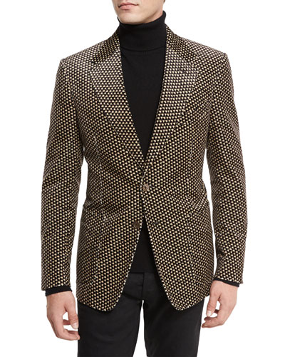 Shelton Base Printed Velvet Sport Jacket, Tan