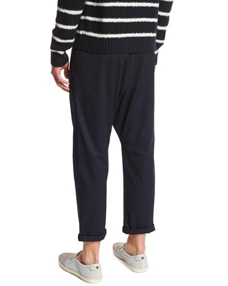 Drop-Rise Cropped Drawstring Pants, Navy