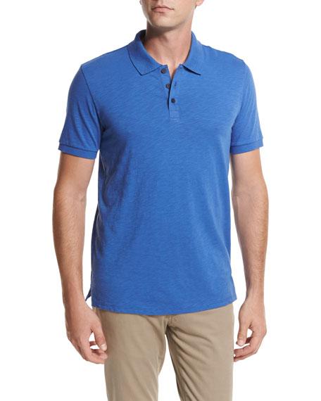 Slub Cotton Polo Shirt, Bright Blue
