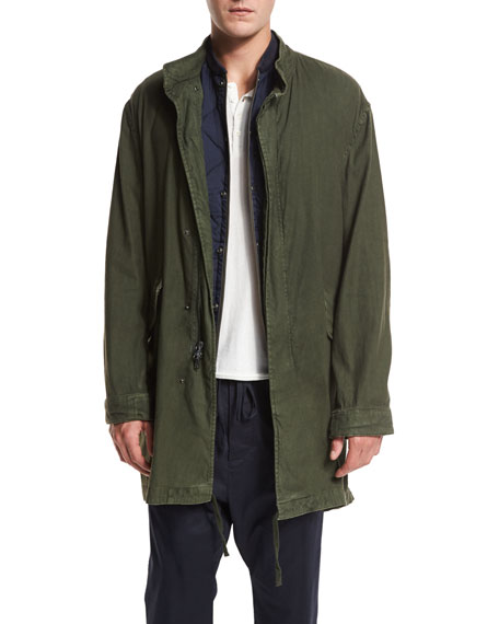 Vince Canvas Utility Parka Jacket, Olive