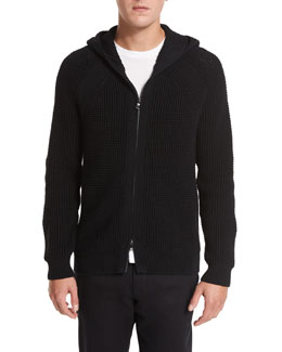 Textured Waffle-Knit Zip-Front Hoodie, Black