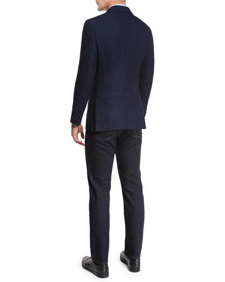 Textured Check Wool-Silk Sport Coat, Navy