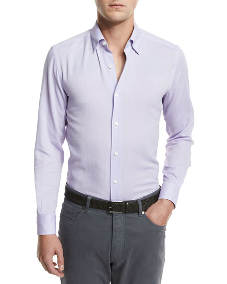 Flannel Woven Sport Shirt, Lilac