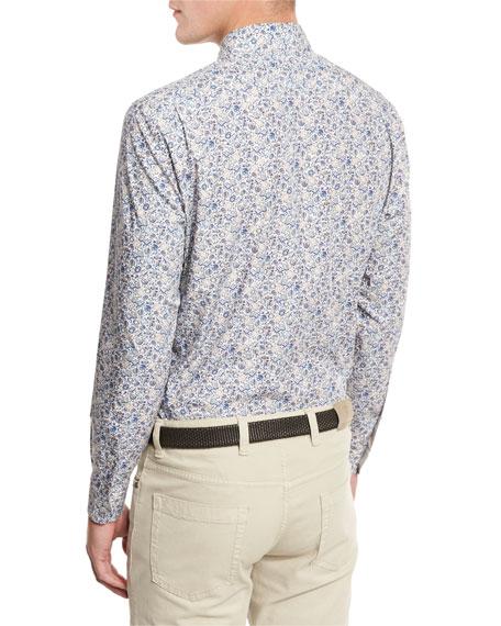 Floral-Print Sport Shirt, Medium Beige/Blue