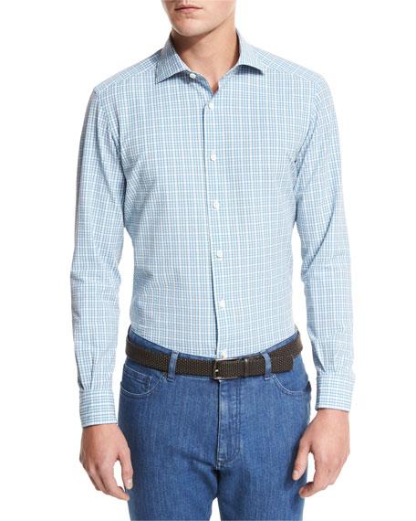 Plaid Seersucker Sport Shirt, Bright Blue Check
