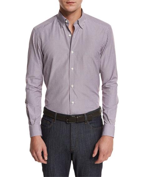 Plaid Woven Sport Shirt, Plum