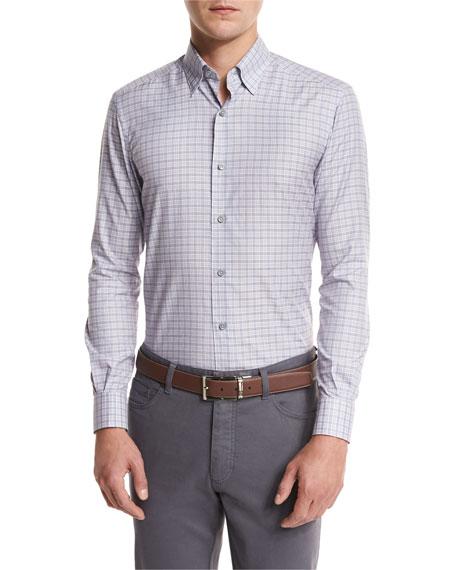 Check Woven Sport Shirt, Light Purple Check