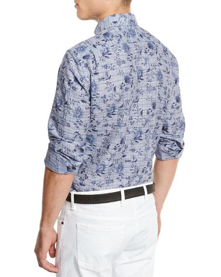 Floral Check Linen-Cotton Sport Shirt, Navy