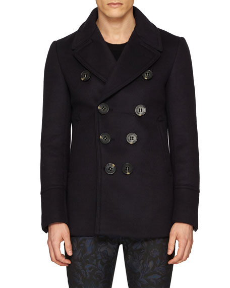 ab4764cd08c7d Burberry Neoprene Bonded Wool-Cashmere Pea Coat