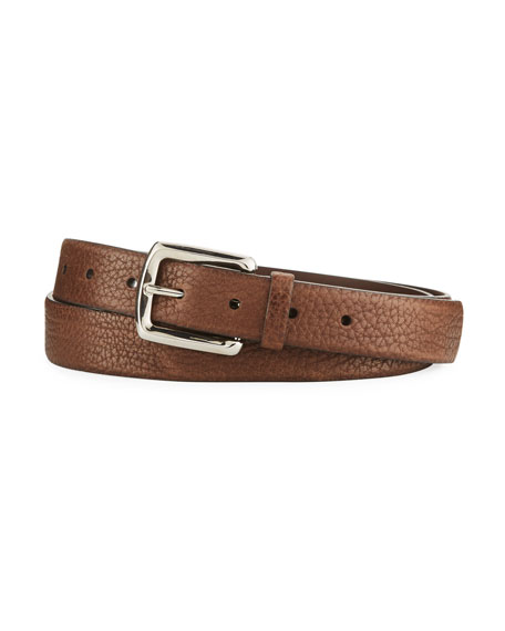 Image 1 of 1: Aged Grain Calf Leather Belt