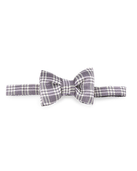 Textured Plaid Bow Tie, Purple