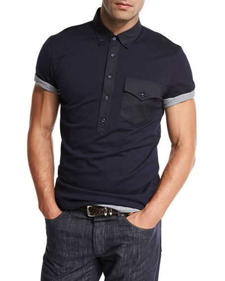 Jersey Polo w/Contrast Pocket & Placket, Navy