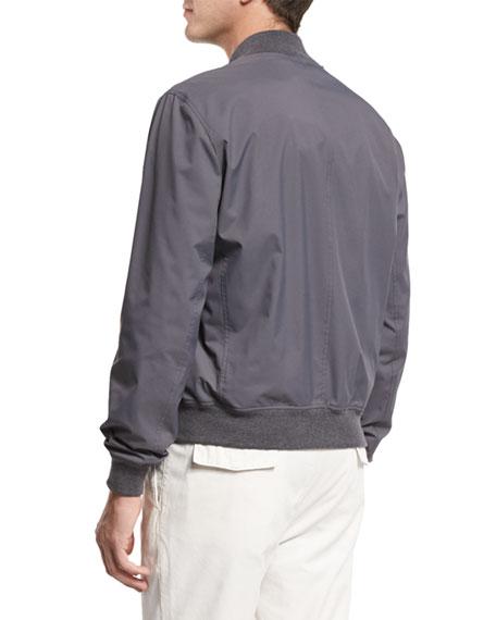 Nylon Baseball Jacket, Gray