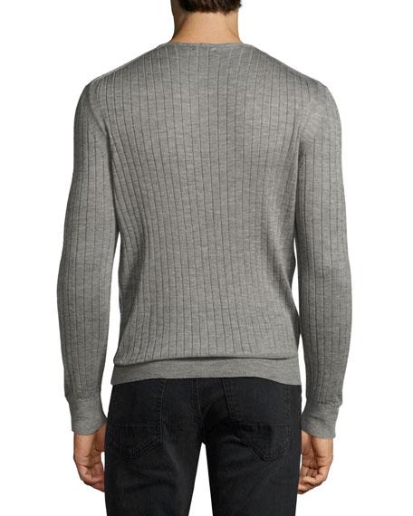 Lightweight Cashmere-Silk Ribbed Henley, Light Gray