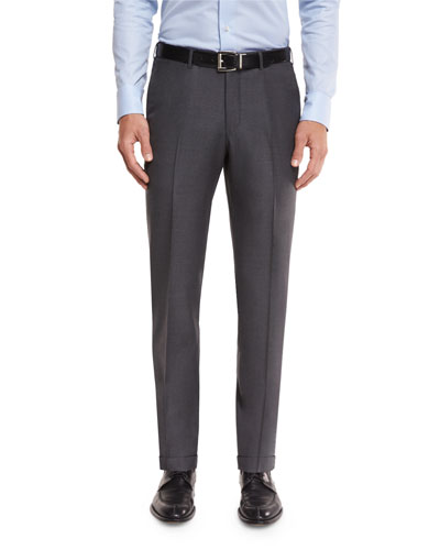 Twill Trofeo Wool Flat-Front Trousers  Gray