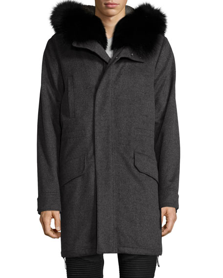 Fur-Lined Cashmere Parka with Fox Fur Hood, Gray