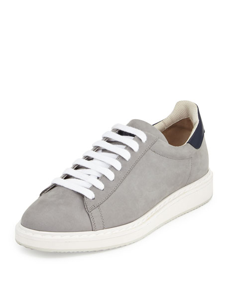 Brunello Cucinelli Icarus Suede & Leather Low-Top Sneaker,