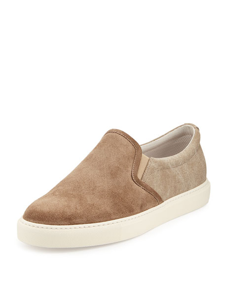 Suede & Canvas Low-Top Sneaker, Beige