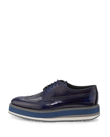 Leather Platform Brogue Creeper, Blue