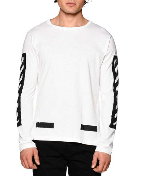 7f5023ba4ffc Off-White Brushed Lines Long-Sleeve Graphic T-Shirt, White/Black