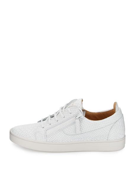 Men's Croc-Embossed Leather Low-Top Sneaker