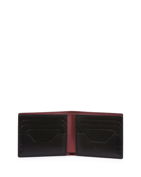 Calf Leather Bi-Fold Wallet, Burgundy
