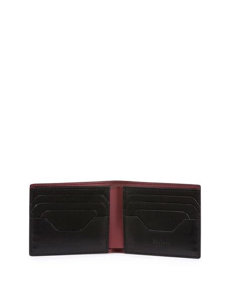 Calf Leather Bi-Fold Wallet, Burgundy