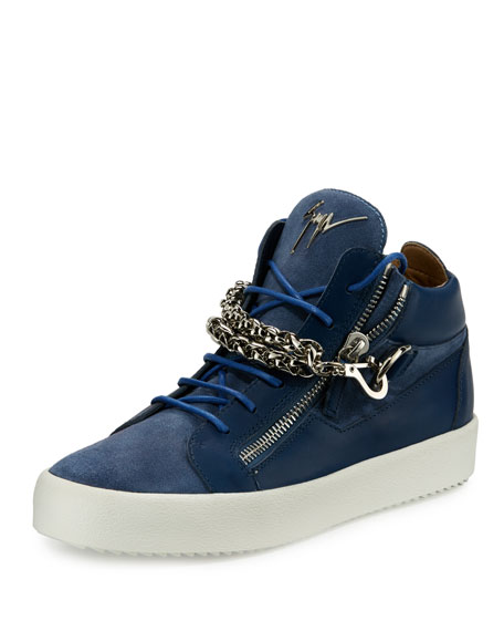 Men's Suede & Leather Mid-Top Sneaker w/Chain Link Strap, Blue