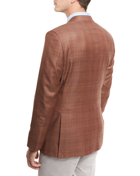Plaid Wool Two-Button Sport Coat, Rust