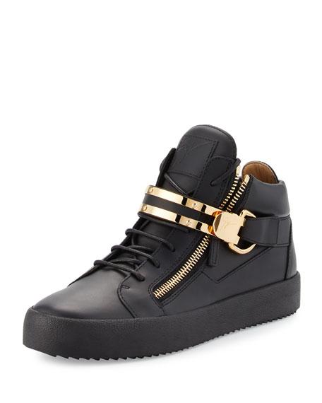 Men's Leather Mid-Top Sneaker w/Double-Bar Strap, Black