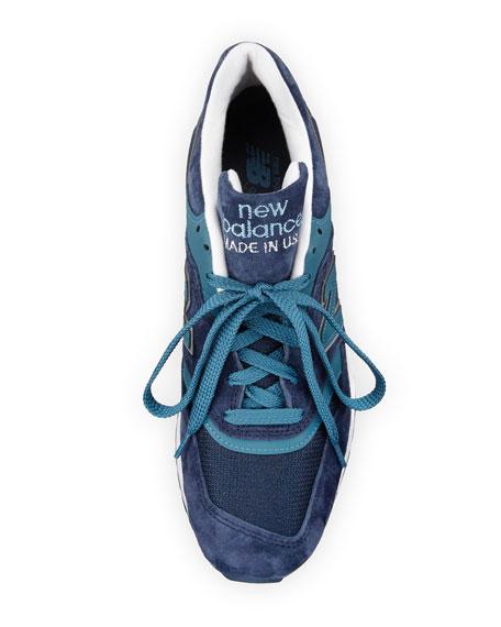 Men's 997 Suede & Mesh Sneaker, Navy/Castaway Blue