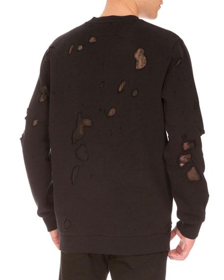 Cuban-Fit Destroyed Logo Sweatshirt, Black