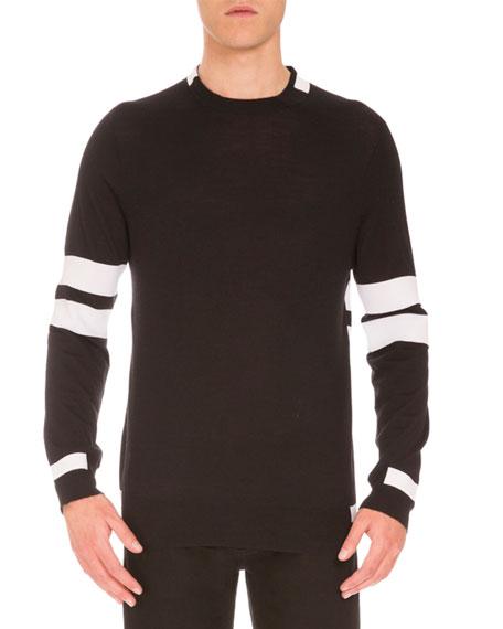 Striped Wool Sweater, Black