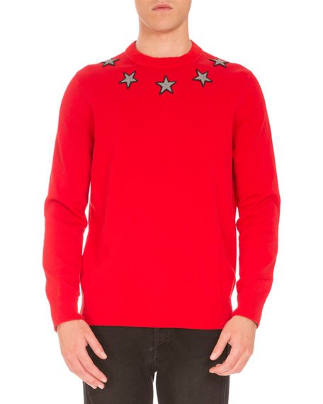Star-Embroidered Crewneck Sweater, Red