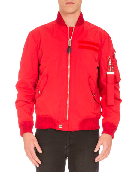Nylon Bomber Jacket, Red