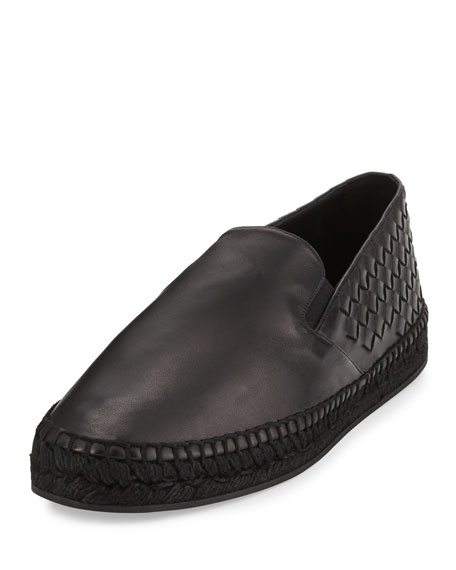 Bottega Veneta Men's Leather Intrecciato Espadrille Flat, Black