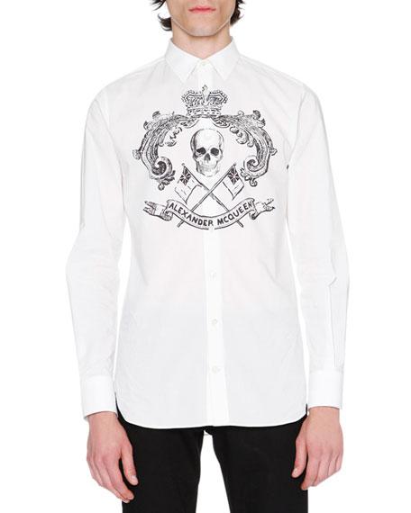 Alexander McQueen Skull Crest Woven Shirt, White/Black
