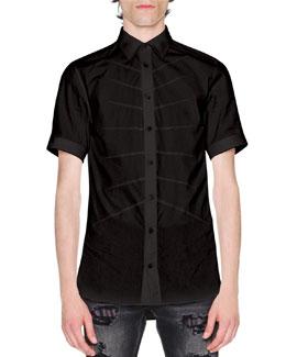 Rib Cage Velvet Short-Sleeve Shirt, Black