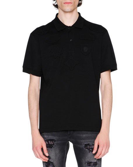 Tonal-Patch Piqué Polo Shirt, Black