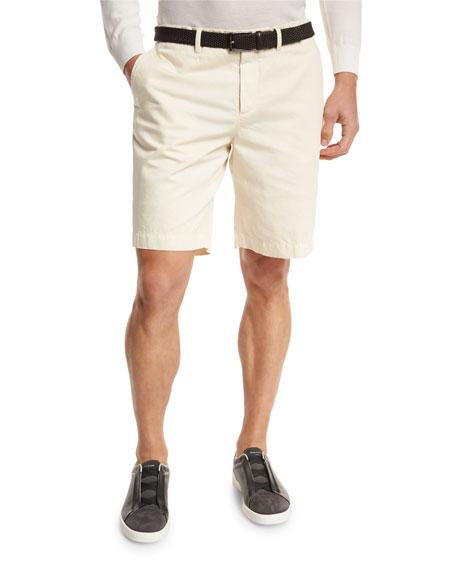 Ermenegildo Zegna Cotton-Linen Chino Shorts, Light Beige