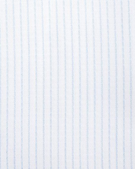 Satin-Stripe Dress Shirt, White/Light Blue